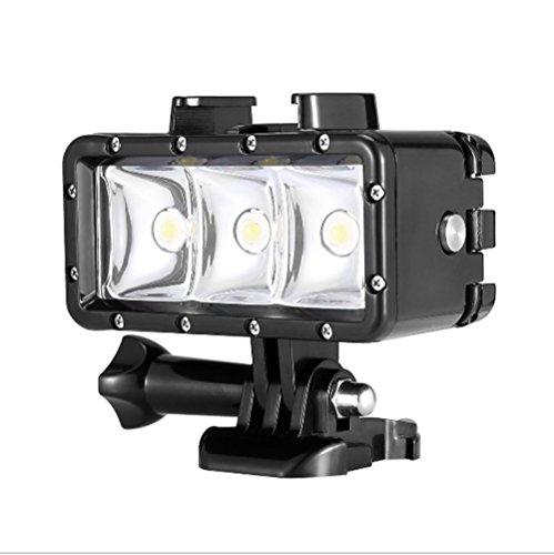 Orsda Video Tauchlampe 30M Wasserdicht 3W 3 LED Tauchlampe Videoleuchte+ Schwimmender Handgriff Griff 300LM für GoPro Hero 4 3+ 3 Sport Kamera Schwarz -