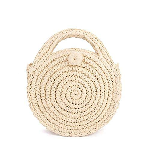 Round Paper Rope Bag Mini Vintage Handmade Crossbody Leather Bag Girls Circle Rattan Bag Small Bohemian Shoulder Bag - Handmade Cross Body