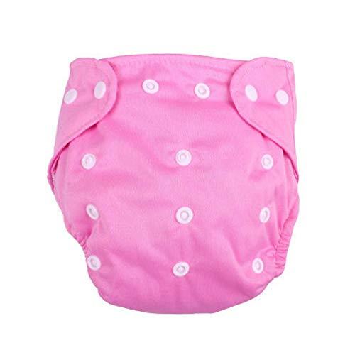 Couche sous-Vêtements Infantile Bébé Pantalon Respirant Réutilisable Réglable pour Enfants en Coton Massif Briefs Garçons Filles Nappy(Rose)