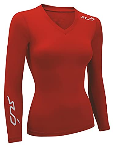 Sub Sports Women's Dual All Season Compression Long Sleeve Base Layer - Red, 2X-Large