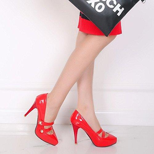 COOLCEPT Femmes Mode Slip On Court Chaussures Bout Ferme Talon Aiguille Escarpins Rouge