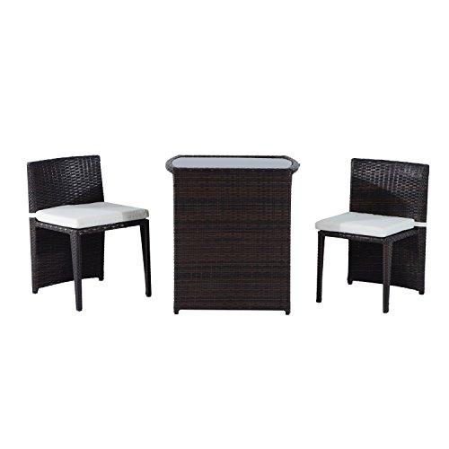 Outsunny Ensemble meubles encastrables design de jardin table plateau verre trempé et lot de 2 chaises avec coussins résine tressée imitation rotin brun neuf 39