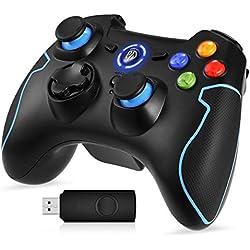 [Manette PS3 PC Sans Fil] EasySMX Manette PC sans Fil, Connectée avec USB, Manette PS3 avec Dual Shock, Compatible pour PC Windows 7/8/8.1/10, PS3, Android(via OTG et Simulateur)-(Noir+Bleu)