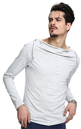 Whatlees Herren Basic reguläre Passform Kapuzenpullover aus weiches Jersey B093-Grey
