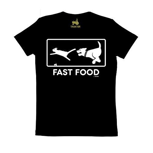 Fast Food Rundhals T-Shirt - schwarz - Original Marke TRAKTOR®, Größe (Wortspiel Kostüme Kinder Für)