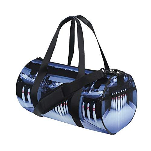 ZOMOY Sporttasche,Bowling Party symmetrische Pins drucken,Neue Bedruckte Eimer Sporttasche Fitness Taschen Reisetasche Gepäck Leinwand Handtasche