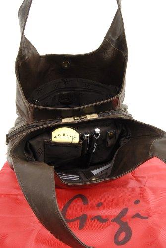 """Schultertasche Leder """"Othello"""" von Gigi - GRÖßE: B: 33 cm, H: 22 cm, T: 12 cm Dunkelbraun"""