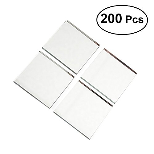 HEALIFTY Small Square Mirror Glass Tile Crafts Decorative Glass Mosaic Tile Sheet 200pcs