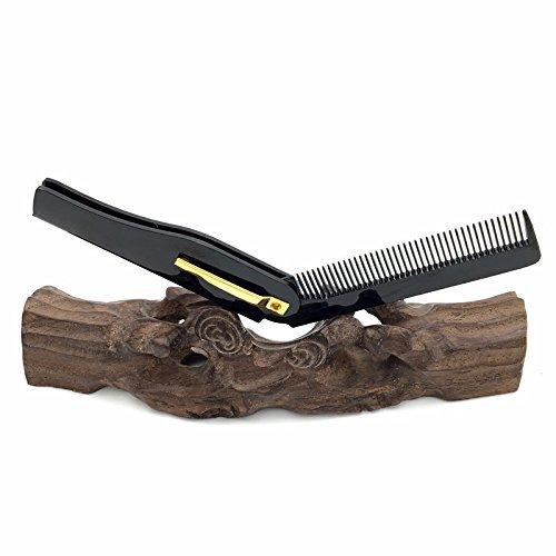 TEN-G Folding Pocket Comb - Folding Beard & Mustache Combs Hairbrush Beauty Tools for Men Women - Foldable Pocket Comb - Mustache Beard Comb - Folding Beard Comb (Black) -