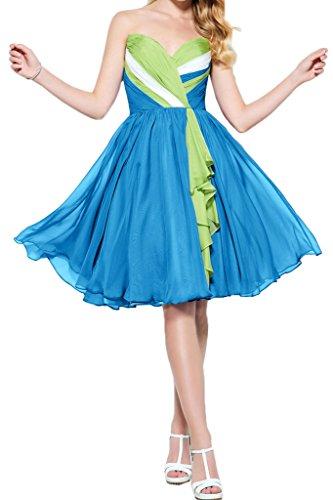 Gorgeous Bride Zaertlich Herz-Ausschnitt Knielang A-Linie Chiffon Abendkleider Cocktailkleid Ballkleider Blau