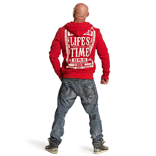 Yakuza Original Herren Life Time Zip Hoodie Kapuzenjacke Ribbon Red