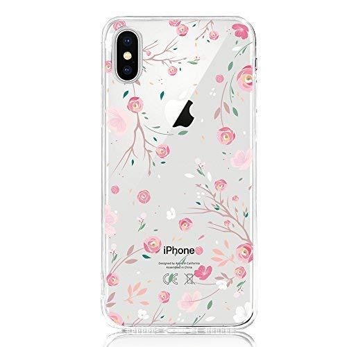 DAPP® kompatibel mit iPhone X/Xs Hülle, Dolce Vita Serie Transparente Silikon Handyhülle für Damen/Mädchen, Durchsichtig mit Rose Blumen Flamingo Kaktus Giraffe Anker Herz Motiv Muster