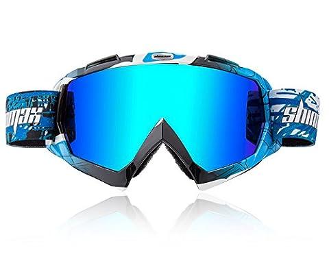 Shinmax Lunettes de Ski, Unisexe Motocross Sports Snowmobile Snow Skiing Lunettes de Planche à Neige, Anti Fog Dust UV, Anti-Poussière Résistant aux Rayures Bendable Coupe-Vent Lunettes de Protection