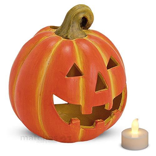 matches21 Tolles Kürbis Windlicht Halloween Laterne 17x20 cm aus Ton mit flacker LED-Teelicht