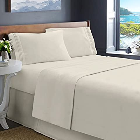 Hearth & Harbor King Size Bed Sheets, Cream Beige - Soft Luxury Best Quality 4-Piece Bed Set - Double Brushed Microfiber, Deep Pocket Fitted Sheet.