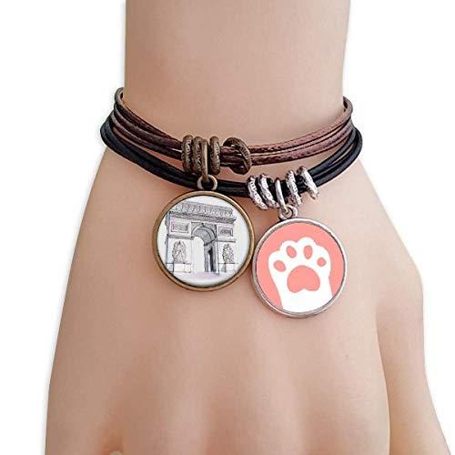 DIYthinker Damen Arc De Triomphe in Paris Frankreich Katzen-Armband-Leder-Seil-Armband Paar Sets