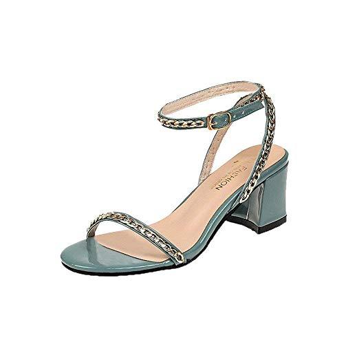 cc5155317512 HhGold Liquidación Mujeres Moda Partido Metal Remache Correas del Tobillo  Sandalias Punta Redonda Bloque Zapatos de tacón (Color : Azul, tamaño : ...