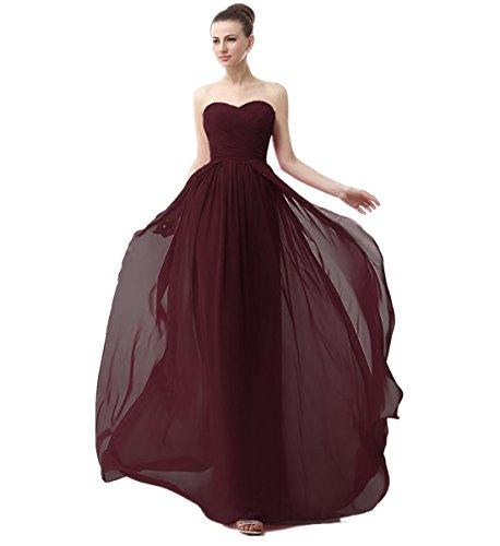 KAIDUN Damen Schulterfrei Chiffon Abendkleider Lang Brautjungfern Kleid Burgundy 38