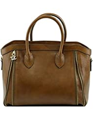 Tuscany Leather - TL Bag - Sac à main avec glissière Taupe foncé - TL141279