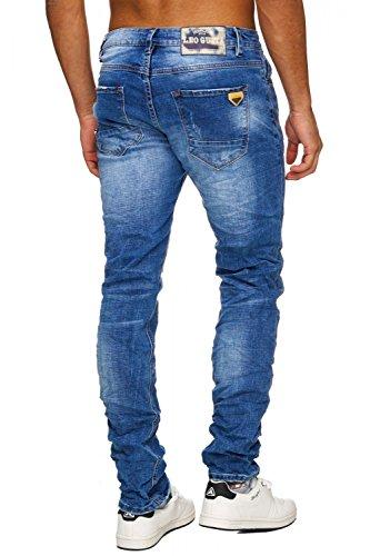 Herren Jeans · (Regular Fit) aufgehellte Jeanshose Stretch Destroyed Denim, Stone Washed · H1749 in Markenqualität Blau