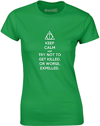 Brand88 - Try Not to Get Killed. Or Worse, Expelled, Mesdames T-shirt imprimé Vert/Blanc