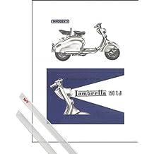 Stampa d'Arte + Sospensione : Scooter Stampa d'Arte (40x30 cm) Lambretta 150 Ld E Coppia Di Barre Porta Poster Trasparente 1art1®