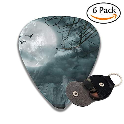 Wooden Floor With Branch And Blurred Full Moon Dark Style Colorful Celluloid Guitar Picks Plectrums For Guitar Bass 6 Pack.96mm ()