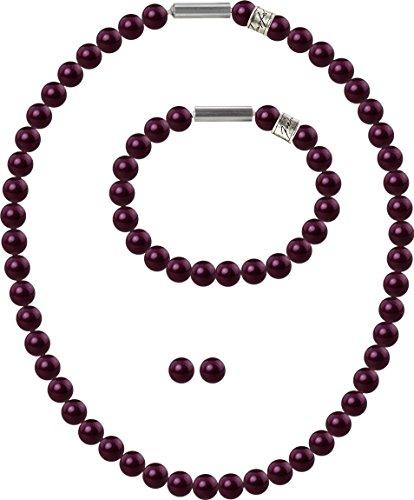 petra kupfer 3er Schmuckset Perlenkette Medium mit original Swarovski ® Perlen 8mm, Farbe:BlackBerry Pearl