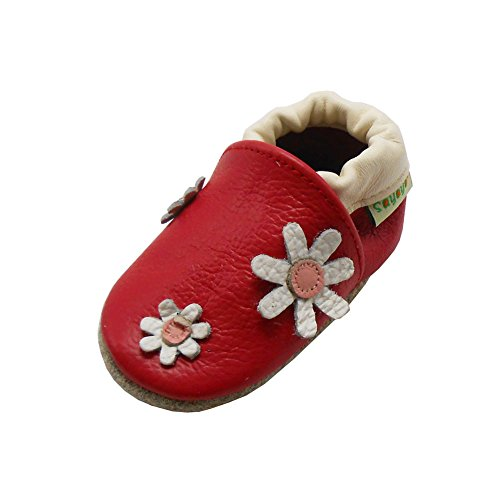 Sayoyo Gänseblümchen WeichesLeder Lauflernschuhe Krabbelschuhe Babyschuhe Rot