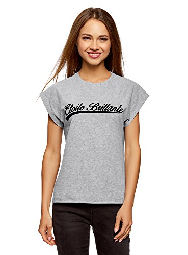 oodji Ultra Damen Baumwoll-T-Shirt mit Raglan-Ärmeln und Unbearbeitetem Saum, Grau, DE 42/EU 44/XL (Mädchen-raglan-t-shirt Weiße)
