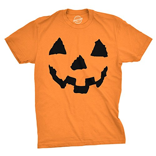 Crazy Dog Tshirts - Pumpkin Face T-Shirt Funny Halloween Jack O Lantern Shirt (Orange) - 5XL - Herren - 5XL (Kopfloser Mann Halloween-kostüme)
