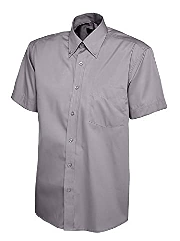 Mens Pinpoint Oxford Short Sleeve Shirt Charcoal