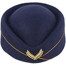 Cappello hostess BESTOYARD Cappello per costome di Assistente di volo e  Carnevale in feltro di lana 35963e71022e