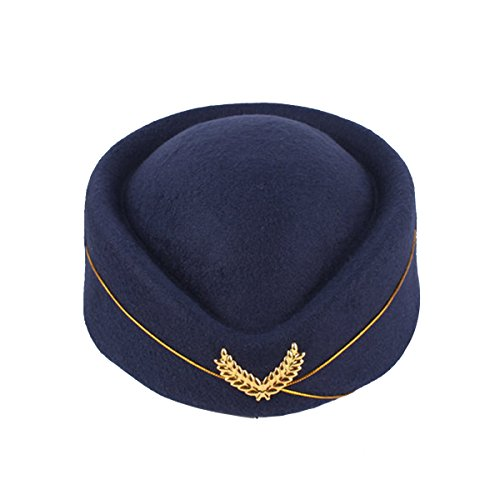 BESTOYARD Flugbegleiterin Mütze Wollfilz Stewardess Hut Damen Pillbox Mützen Stewardess Kostüm Cosplay Cap Größe M - Stewardess Kostüm Hut