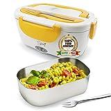 SPICE Amarillo inox Scaldavivande portatile Lunch Box con vaschetta estraibile e Forchetta in acciaio inox Giallo 40 W 1,5 litri