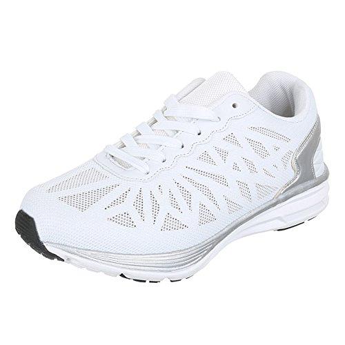 Damen Schuhe, 382-7, Freizeitschuhe SNEAKERS TURNSCHUHE Weiß