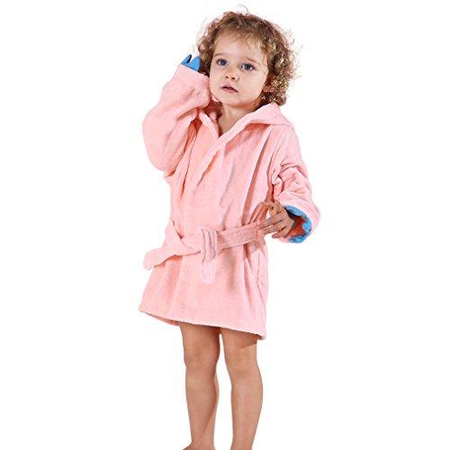 MICHLEY Tier Dinosaurier Art mit Kapuze Bademantel Badetücher 100% Baumwolle weiche Schläfer (Pink 3-5T) (Drachen Kostüme Für Kleinkinder)