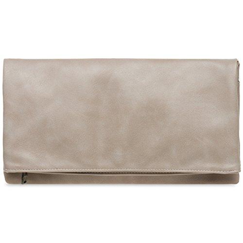 CASPAR TA392 elegante Damen Briefumschlag Envelope Clutch Tasche Abendtasche, Farbe:nude;Größe:One Size