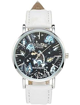 JSDDE Uhren,Casual Armbanduhr Pflanzen Mode Zeitloses Design Silber Analog Quarzuhr Lederarmband Lederuhr,Weiß