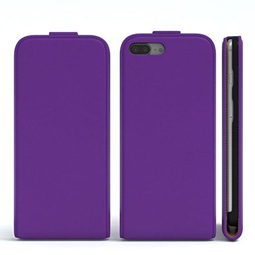iPhone 8+ Hülle / iPhone 7+ Hülle - EAZY CASE Premium Flip Case Klapphülle für Apple iPhone 7 Plus & iPhone 8 Plus - Edle Schutzhülle aus Leder mit Magnetverschluss in Lila Lila