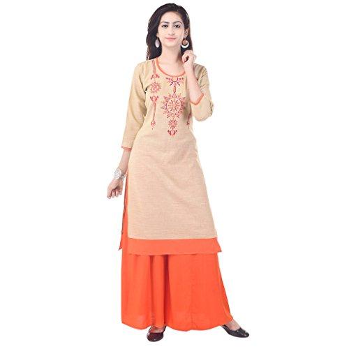 Priya Shop Beige Colour Embroidered Kurti