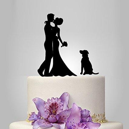 Kiss Braut und Bräutigam Silhouette Romantische Hochzeit Kuchen Topper mit einem niedlichen Hund