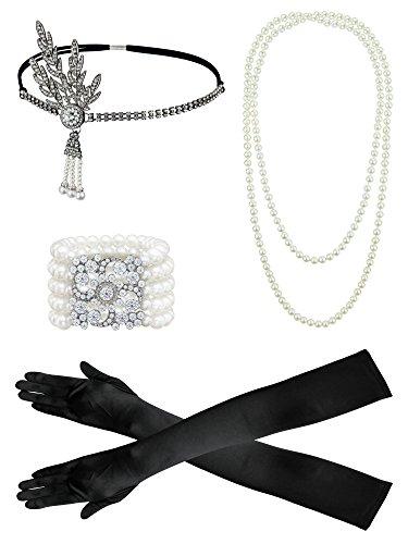 Flapper Stirnband 1920er Jahre Zubehör Set für Frauen, 1920er Jahre Stirnband, Handschuhe, String Perlenkette, Perlenarmband