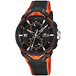 Lotus Men's Quartz Watch with Black Dial Chronograph Display and Black Rubber Strap 18107/6