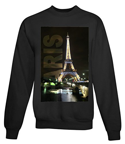 Billion Group | Paris Eiffel Tower At Night | City Collection | Women's Unisex Sweatshirt Noir