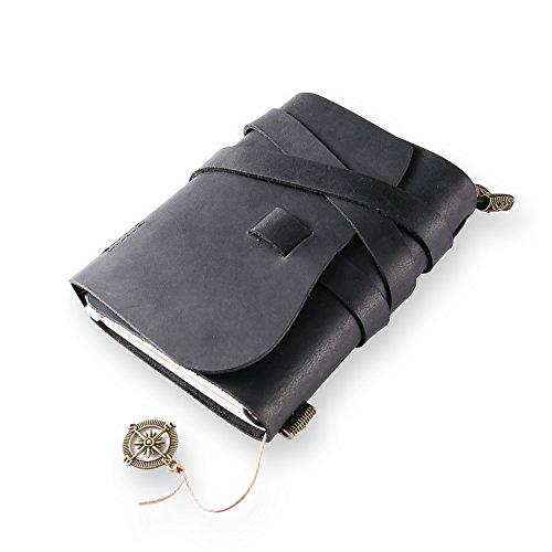 Klassisches Notizbuch/Tagebuch aus echtem Leder, mit nachfüllbaren Seiten, 100 {ea115106de960a97109b3941e9e4e9b98dea10f0c016aa4a46fafa4d91806f00} handgefertigt, Geschenk, Reisetagebuch, Tagebuch, von ScrodCat Größe S Black-line3