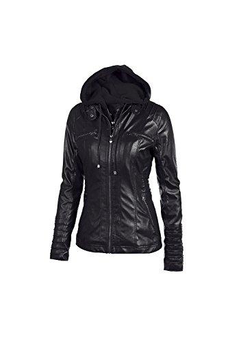 Les Femmes Et La Taille Des Manches Longues Vestes En Cuir Outcoat À Moto Du Faux Black