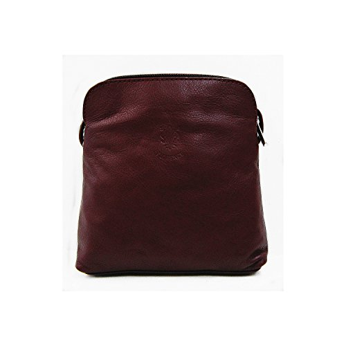 Vera Pelle Italiana Piccolo e morbido Croce Corpo Borsa a tracolla, Light Coffee (marrone) - PS49 Dark Red