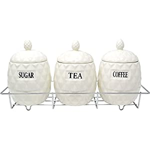 Set Of 3 Pineapple Shape Canisters Tea Coffee Sugar With Stand Kitchen Storage
