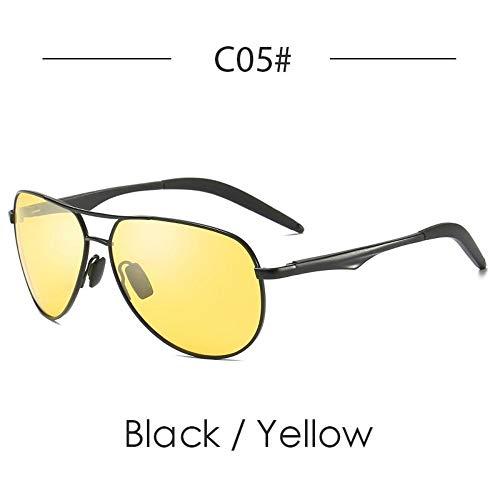 Sonnenbrillen. Sonnenbrille Männer Polarisierte Metall Jahrgang Männlich Sonnenbrille Nacht Version Sonnenbrille Outdoor Reisen Sommer Uv400 Schwarz Gelb